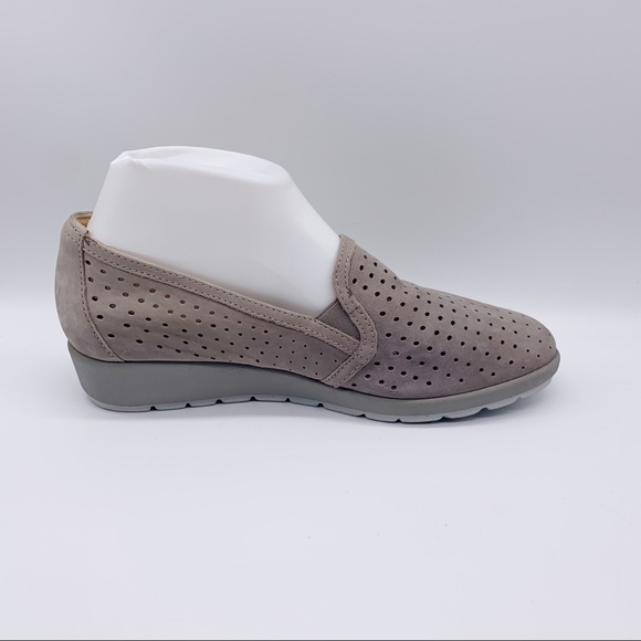 Earth Perforated Slip On Shoes Gray